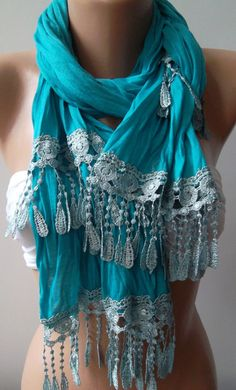 Turquoise  Blue  and Elegance Shawl / Scarf by womann on Etsy,