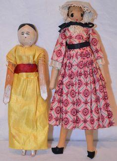 2 Vintage Wood Girl Dolls BY Shackman Japan 1960 German Penny Wooden Germany Wooden Figurines, Wooden Dolls, Clothespin Dolls, Vintage Wood, Girl Dolls, Germany, Japan, Ebay, Fashion