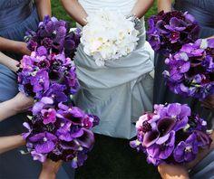 Purple orchid, black callas bouquets    Photo: Marc Blondin Photography  Fleurs de France florals.  www.fleursfrance.com