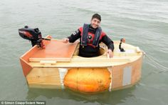 First crossing: Mr Galitzine wants to be the first person in history to cross the water in a hollowed out pumpkin Giant Pumpkin, Isle Of Wight, World Records, The Row, History, Water, Artist, Image, Gripe Water