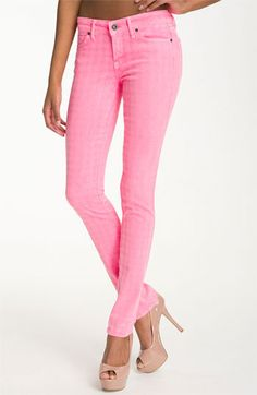 Rich & Skinny 'Legacy' Houndstooth Print Skinny Jeans (Neon Pink) available at #Nordstrom