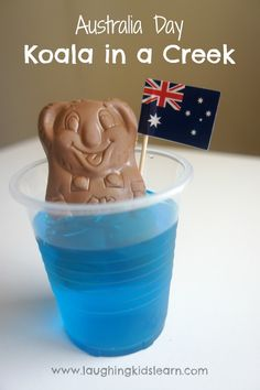 Australia Day food idea. Koala in a creek of blue jelly.
