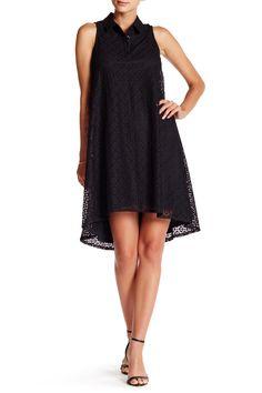 Denim shirt dress sleeveless lace