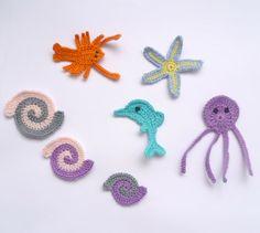 Crochet Appliques Sea Creatures 7pcs Dolphin, Octopus, Starfish, Lobster, Shell Crochet Supplies For Clothing, Hair Clips, Handbags
