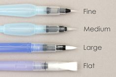 The waterbrush tip size determines how much water is dispensed with each brush stroke. Fine brushes release less water per stroke and are good for detail work while large brushes are suited for covering larger areas.