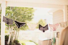 Lingerie clothesline at the bridal shower