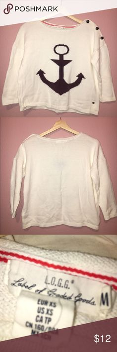 Sweater Worn a few times. Loose fit.The anchor was a darker color, sweater was accidentally bleached with the whites and the color changed. It's even but not dark blue. Other then that in good condition. H&M Sweaters Crew & Scoop Necks