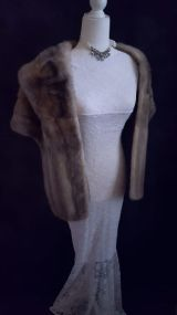 Silver Cerulean Mink Fur Stole , Real Fur , Great Gatsby Party Fur