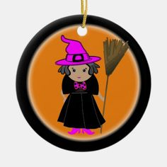 Good Witch - Custom Halloween Tree Ornaments Halloween Trees, Halloween Ornaments, Halloween Home Decor, Halloween House, Halloween Decorations, Holiday Decor, Halloween Party Favors, Witch Broom, Pink Hat