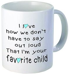 Blue heart and boy I love how we dont have to say it out loud that Im your favorite child ceramic coffee mug Best funny and inspirational gift * Check this awesome product by going to the link at the image. Novelty License Plates, Novelty Ties, Novelty Fabric, Valentines Flowers, Surprise Gifts, Out Loud, Inspirational Gifts, Hostess Gifts, Coffee Mugs