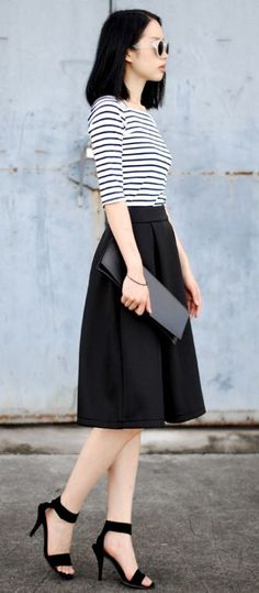 8c07cbc5c149a Parisian Chic Street Style - Dress Like A French Woman Like skirt length and  fullness