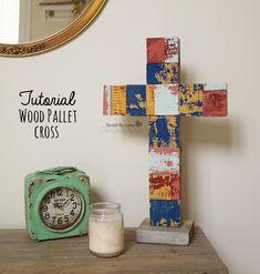 Wood Pallet Cross DIY @savedbyloves @plaidcrafts