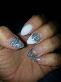 Glitter almond shaped acrylic nails