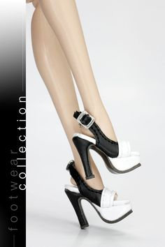 The Vogue White Black Leather Fashion High Heels Shoes for Barbie New