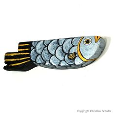 Fish Decor Painted Wood Green Folk Art