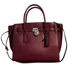 Pre-owned Michael Kors Claret Leather Large Hamilton Traveler Claret... ($153) ❤ liked on Polyvore featuring bags and luggage