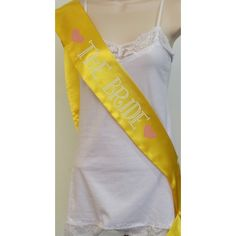 Rhinestone The Bride 2 Sash - Yellow with Rose and Crystal Rhinestones