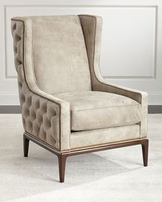 Idris Tufted Back Leather Wing Chair