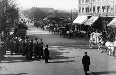 Funeral procession for E Pauline Johnson (Tekahionwake), Monday 10 March 1913 West Georgia Street at Seymour Source: City of Vancouver 1422 Georgia Street, Past Tense, O Canada, Photographic Studio, History Facts, First Nations, Back In The Day, British Columbia, Vancouver