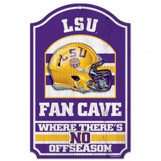 "LSU Tigers Wood Sign - 11""""x17"""" Fan Cave Design"
