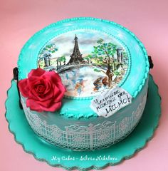 Paris, Paris Cake! Hand painted