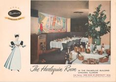 - The Harlequin Room Harvey House, Chicago, Illinois Judy Garland Movies, Harvey House, Harvey Girls, Dining Services, Lunch Room, House Restaurant, Art Deco, Table Decorations, Graphics