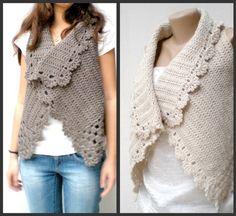 Crochet  Vest  Champagneoff white lambswool by crochetbutterfly