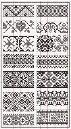 Elegant fair isle knitting patterns no floss numbers, but will be . Fair Isle Knitting Patterns, Knitting Machine Patterns, Knitting Charts, Knitting Stitches, Sock Knitting, Vintage Knitting, Free Knitting, Cross Stitch Borders, Cross Stitch Kits