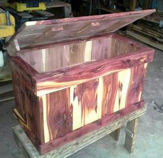 Cedar chest, hope chest for girls, love the cedar color patterns.