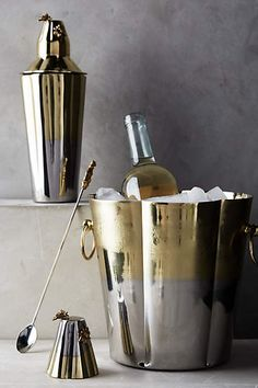 Two-toned ice bucket and cocktail shaker