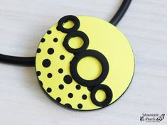Yellow Necklace, Geometric Necklace, Inspirational Gift woman, Black Yellow Jewelry, Modern necklace, Statement necklace, Unique Jewelry