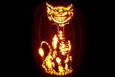 Patterns of cat carved into a Halloween Pumpkin. A huge collection of samples. Cat Pumpkin Carving, Halloween Pumpkin Stencils, Amazing Pumpkin Carving, Pumpkin Carving Patterns, Halloween Mug, Halloween Pumpkins, Halloween Decorations, Pumpkin Carver, Pumpkin Designs