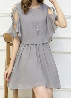Only buy M ladylike women's scoop neck hollow out half sleeve dress Gray at online chiffon dresses shop, sammydress com Mobile is part of Dresses - Stylish Dresses, Simple Dresses, Pretty Dresses, Beautiful Dresses, Casual Dresses, Short Dresses, Chiffon Dresses, Dresses Dresses, Summer Dresses