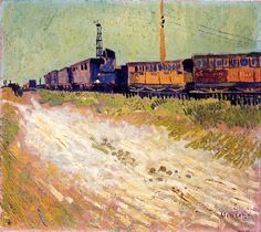 Vincent van Gogh (Dutch, Post-Impressionism, 1853-1890): Railway Carriages, 1888. Created in Arles, France. Oil on canvas, Fondation Angladon-Dubrujeaud, Avignon, France.