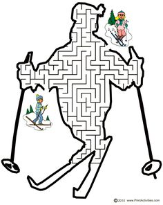 Ski maze of a skier shaped maze is a wonderful and free printable activity page for kids who enjoy maze puzzles and winter activities. Mazes For Kids Printable, Free Printables, Maze Puzzles, Word Games, Niece And Nephew, Winter Activities, Winter Sports, Skiing, Coloring Pages