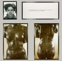"""For the Blind series, Calle photographed people born without sight and asked them to describe """"their image of beauty."""" In this example, an adolescent girl moons over a voluptuous female form she once ran her hands over in the Musée Rodin."""