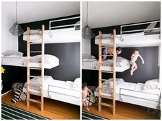 "triple bunk beds // ""Love grows best in little houses, with fewer walls to separate. Where you eat and sleep so close together, you can't help but communicate. If we had more room between us, think of all we'd miss. Love grows best in houses just like this."""