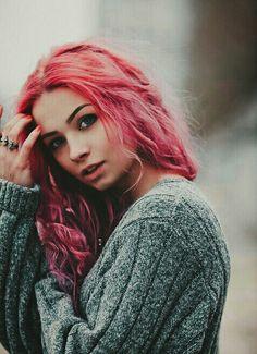 Dyed hair. Pink hair. White