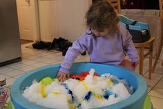Toddler snow day play - bringing the outdoors in!