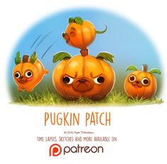 cryptid-creations: Day 1417. Pugkin Patch by Cryptid-Creations...
