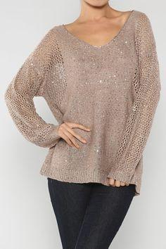 Twinkling V-Neck Sequin Sweater, Mocha - Juliette's Jewels