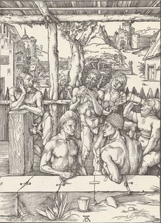 "Durer engraving in HD scanned by Toeslam. This is ""The Men's Bath""  #art #woodcut #engraving #fineart #print #color #Toeslam"