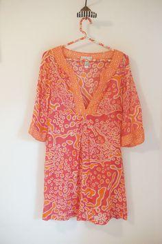 Diane Von Furstenberg Silk Cotton Pink Orange 3/4 Sleeve Tunic Dress Size S #DVF #Tunic #Casual