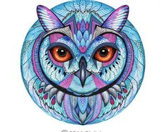 Items similar to Winter owl, bird, animal art print, owl face, size on Etsy Colorful Owl Tattoo, Owl Artwork, Owl Tattoo Design, Vintage Owl, Dream Art, Visionary Art, Fairy Art, Watercolor And Ink, Fantasy Art