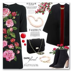 """""""In bloom: dark florals"""" by jan31 ❤ liked on Polyvore featuring Dolce&Gabbana, Burberry, Hiho Silver and Topshop"""