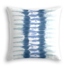 Aqua Blue Shibori Stripe Throw Pillow | Loom Decor