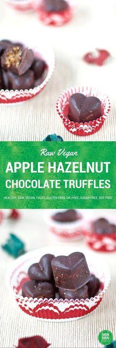 Raw Apple Hazelnut Chocolate Truffles | WIN-WINFOOD.com indulgent, simple to make and good for you! #raw #vegan #healthy #paleo #glutenfree