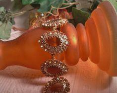 """Vintage Old World Estate Designer Hallmark """"T"""" Large Faceted Glass Topaz Rhinestone Bracelet"""