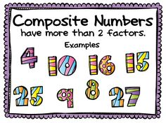 FREEBIE Posters for Prime numbers and Composite Numbers - use as a reference or a discussion starter.