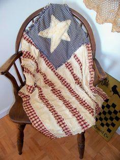 Primitive Americana Flag Rag Throw Quilt